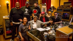 (L to R) Top Row : Kenneth Crouch (Piano), Damon Elliot (Producer) and Dmitry Gorodetsky (Bass) Bottom Row: Thai Long Ly (Engineer) , Dionne Warwick, Donald Barrett (Drums / Musical Director), and Tony Pulizzi (Guitar)