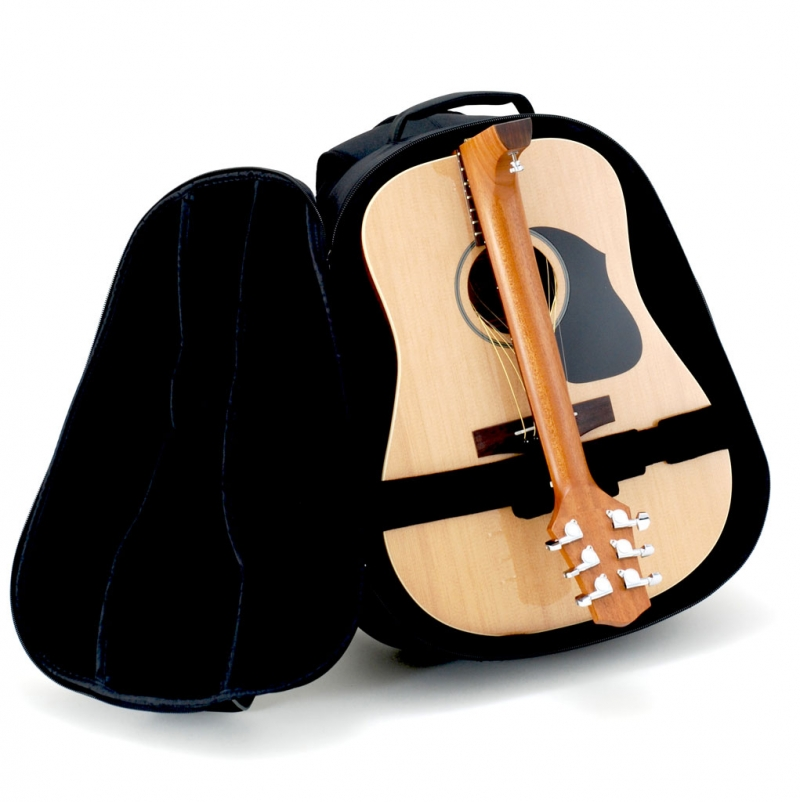Full-size travel guitar folds in half fits and in the included backpack